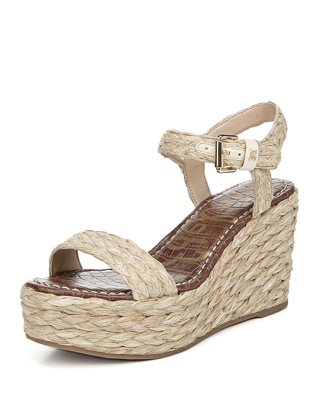 Sam Edelman Sandals DEENA BRAIDED RAFFIA WEDGE SANDALS