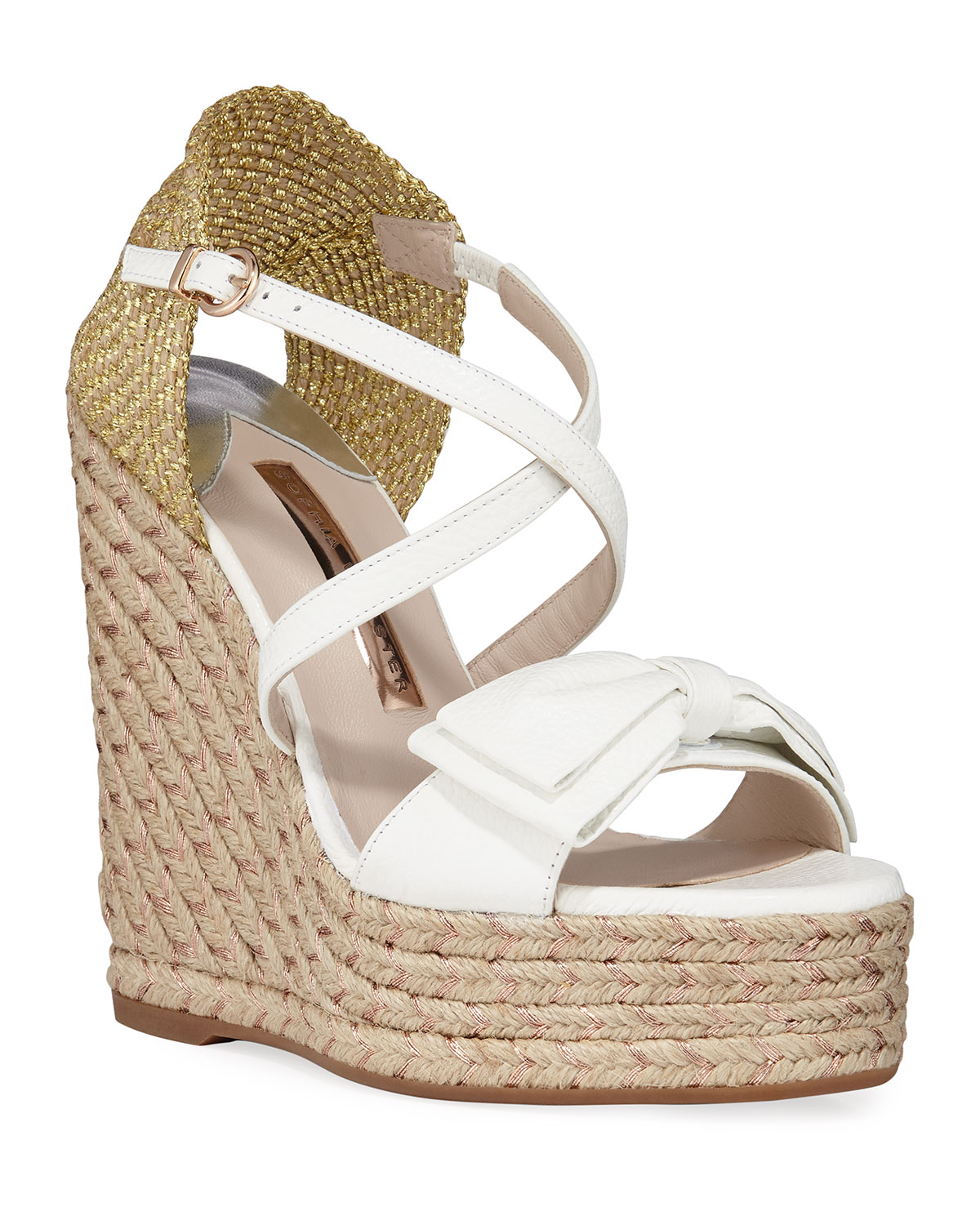 Sophia Webster Wedges BONNIE METALLIC WEDGE BOW ESPADRILLES