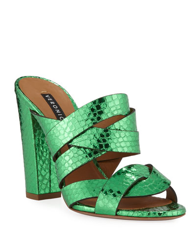 Macey Snake-Embossed Metallic Slide Sandals