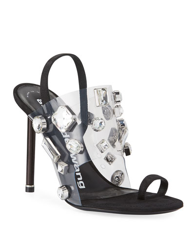 Kaia Clear Jeweled Slingback Sandals