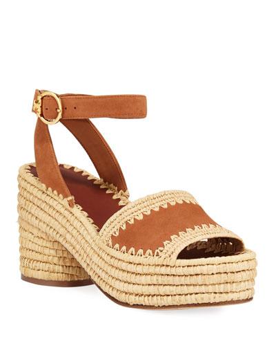 Arianne Raffia-Platform Suede Sandals