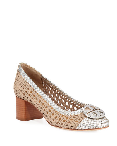 Chelsea Woven Metallic Leather Pumps