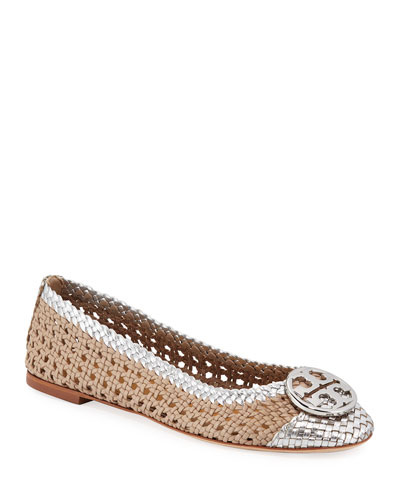Chelsea Woven Metallic Leather Ballet Flats
