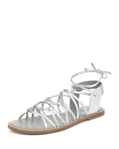 Palmera Flat Metallic Leather Gladiator Sandals
