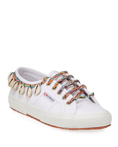 Canvas Ankle-Tie Sneakers with Seashells