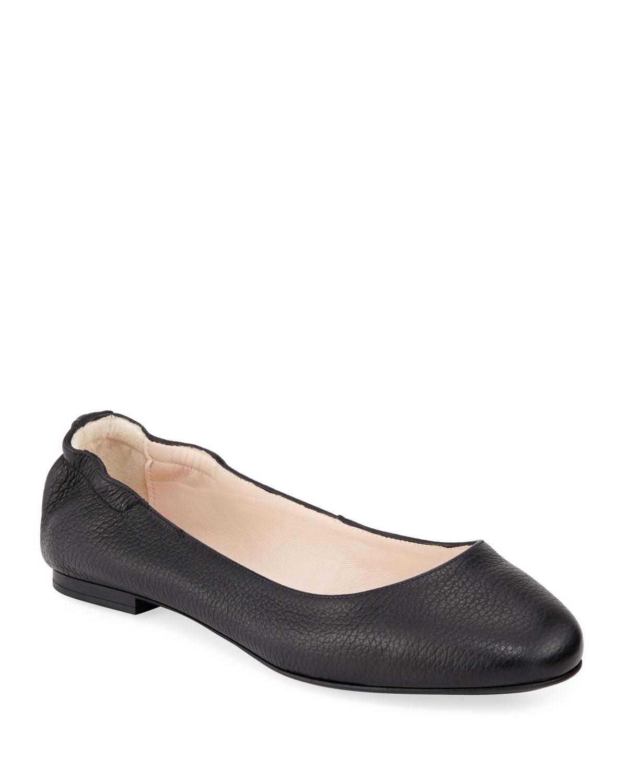 Ackley Leather Ballet Flats, Black