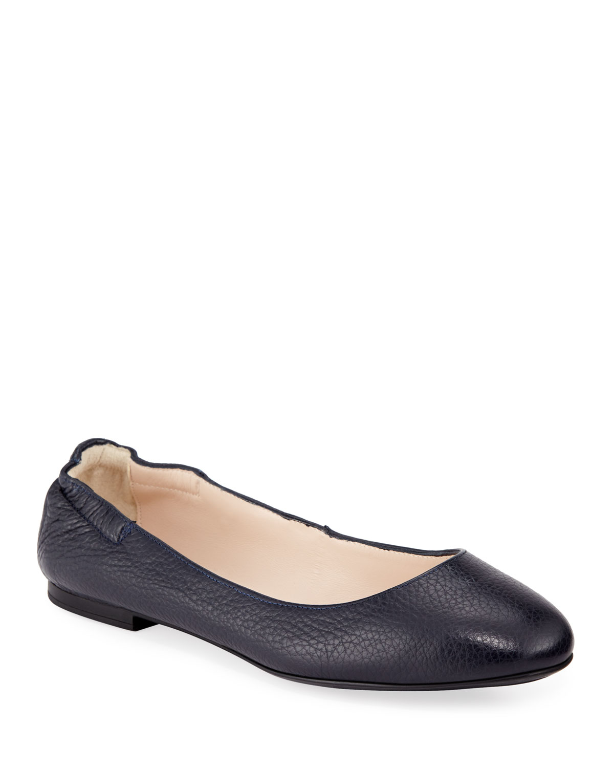 Ackley Leather Ballet Flats, Navy