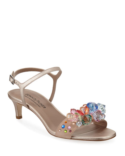 Delila Jeweled Suede Sandals