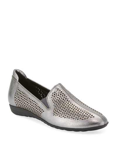 Bev Metallic Cutout Sneaker Flats, Silver