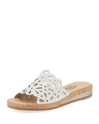 Senta Floral Cutout Comfort Sandals, White
