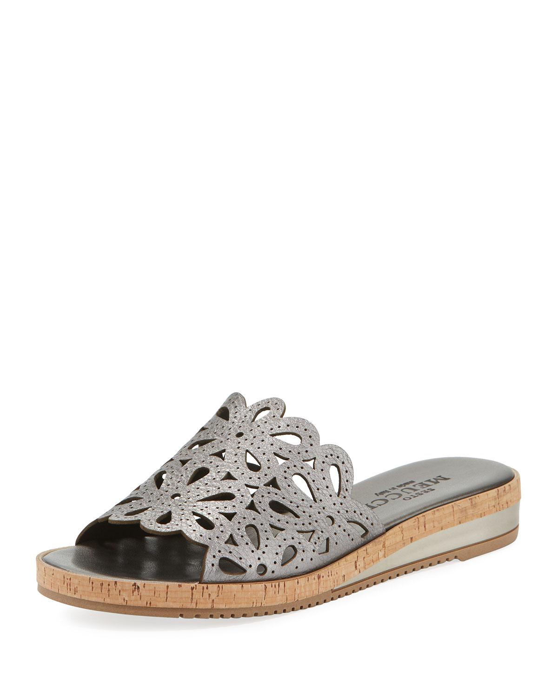 Senta Metallic Cutout Comfort Sandals