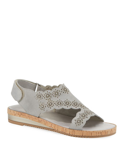 Stela Laser-Cut Suede Sandals, Gray