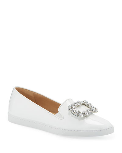 Frieda Ornamented Patent Sneakers, White