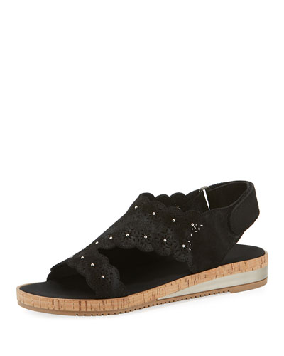 Stela Laser-Cut Suede Sandals, Black