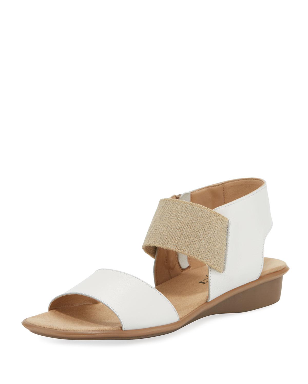 Elki Demi-Wedge Leather Sandals, White