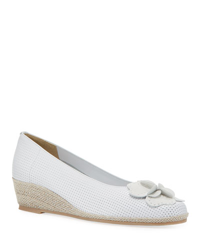 Mel Leather Wedge Espadrilles, White