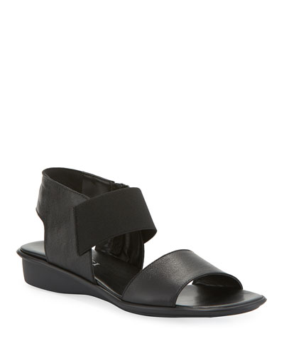 Elki Demi-Wedge Leather Sandals, Black