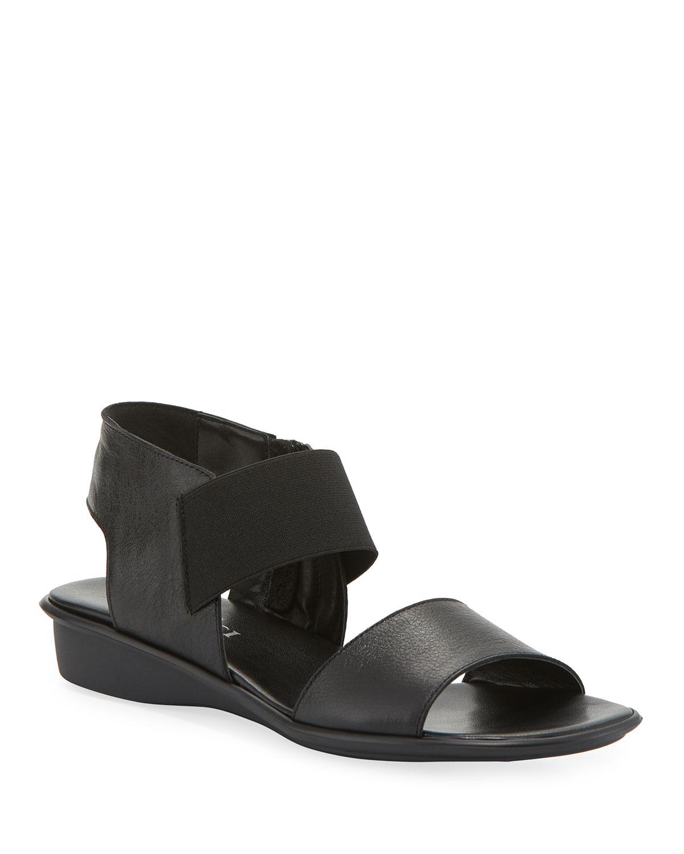 Elki Demi-Wedge Leather Sandals, Black