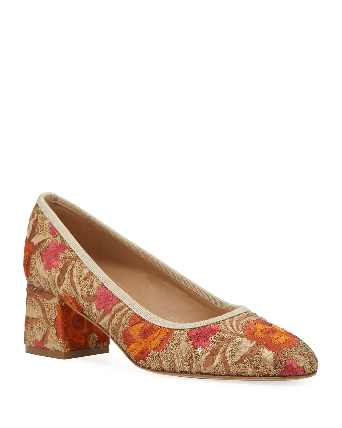Megs Sequin-Embroidered Pumps