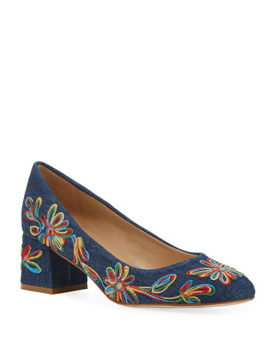 Megs Embroidered Denim Pumps