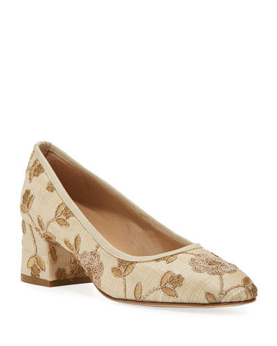 Megs Embroidered Metallic Pumps