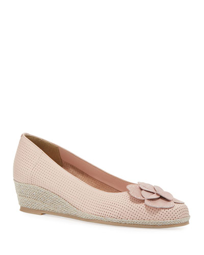 Mel Leather Wedge Espadrilles, Blush