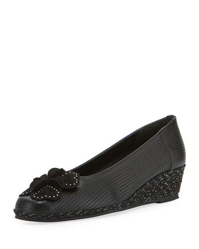 Mel Leather Wedge Espadrilles, Black