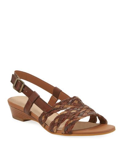 Gia Woven Leather Slingback Sandals, Brown