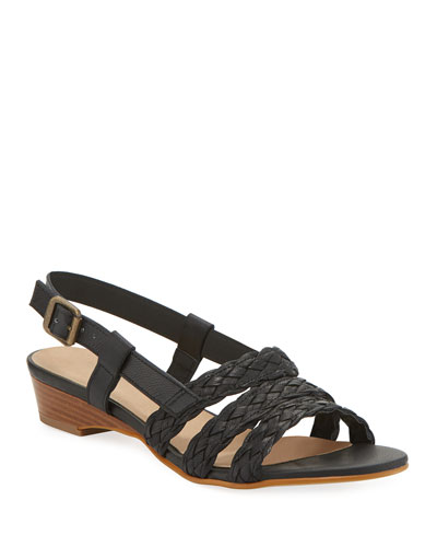 Gia Woven Leather Slingback Sandals, Black