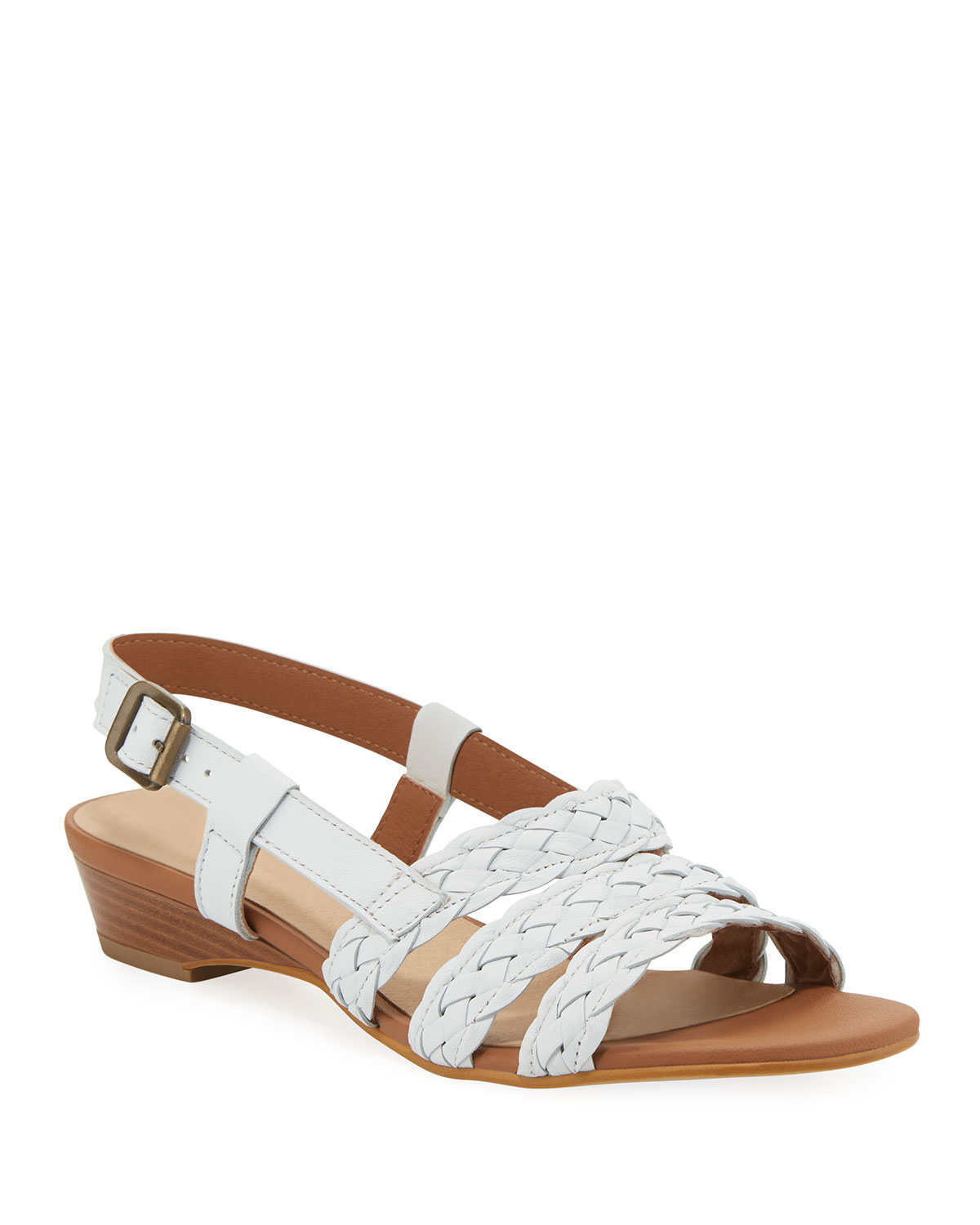 Gia Woven Leather Slingback Sandals, White