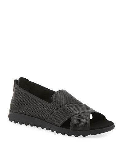 Tessa Perforated Leather Comfort Sandals, Black