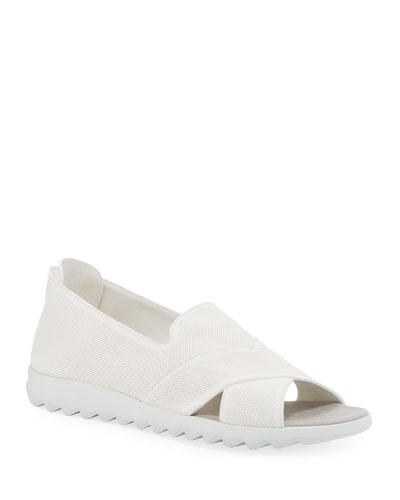 Tessa Perforated Leather Comfort Sandals, White