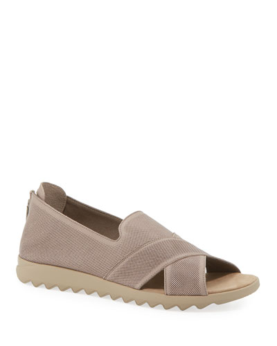 Tessa Perforated Leather Comfort Sandals, Taupe