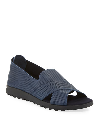 Tessa Perforated Leather Comfort Sandals, Navy