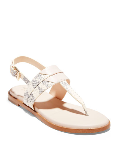 Ainslee Grand Snake-Print T-Strap Sandals
