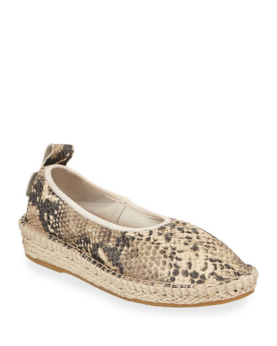 Cloudfeel Snake-Embossed Espadrille Sneakers