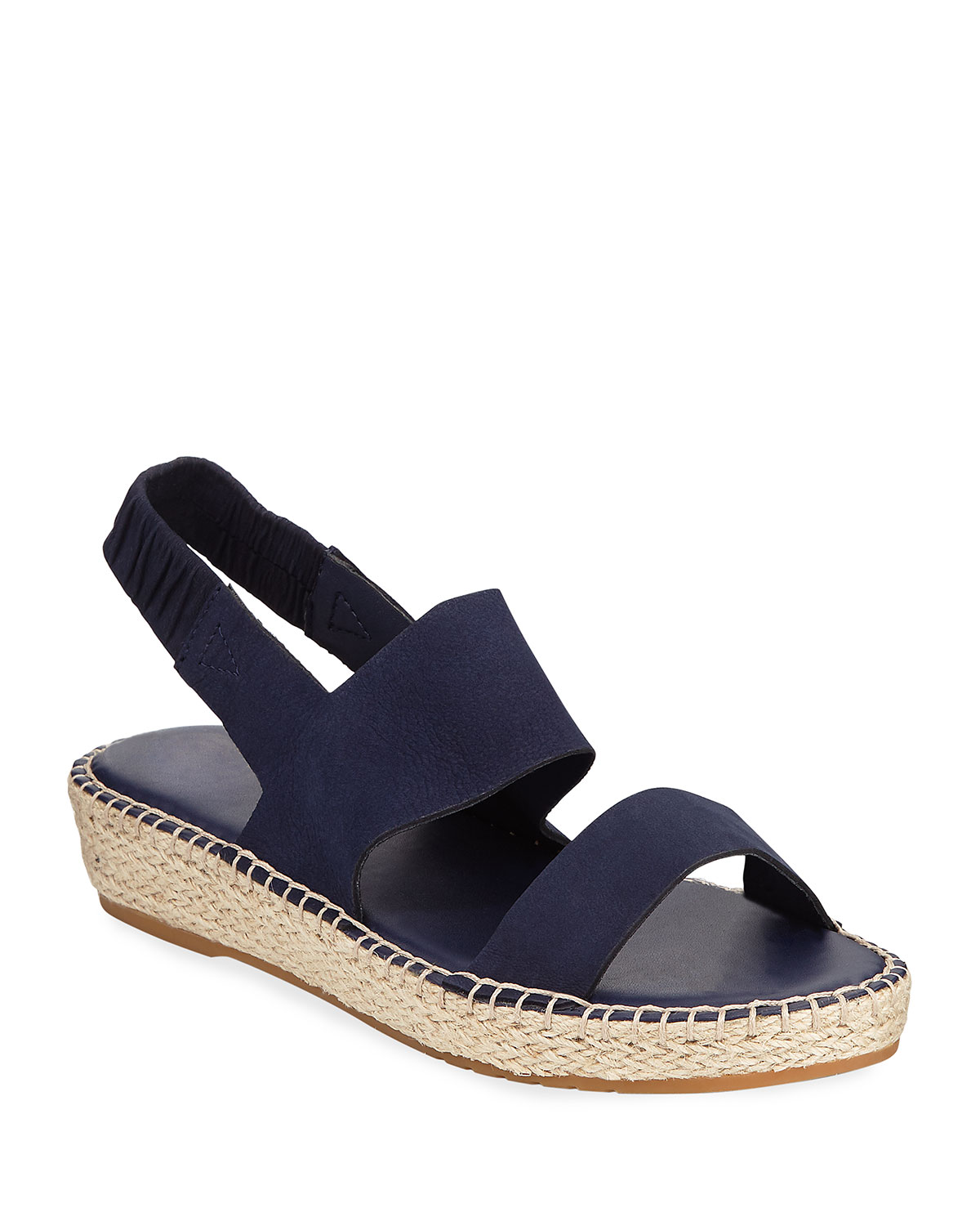 CloudFeel Leather Espadrille Sandals, Navy