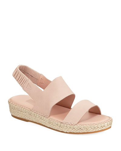CloudFeel Leather Espadrille Sandals, Pink