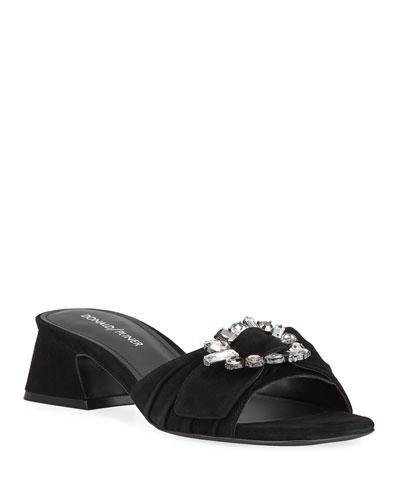 Bate Suede Ornamented Slide Sandals
