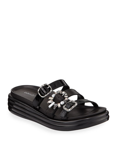 Claud Jeweled-Buckle Slide Sandals