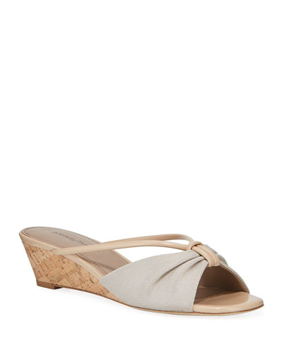 Andra Wishbone-Strap Wedge Sandals
