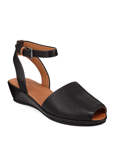 Lily Leather Demi-Wedge Sandals