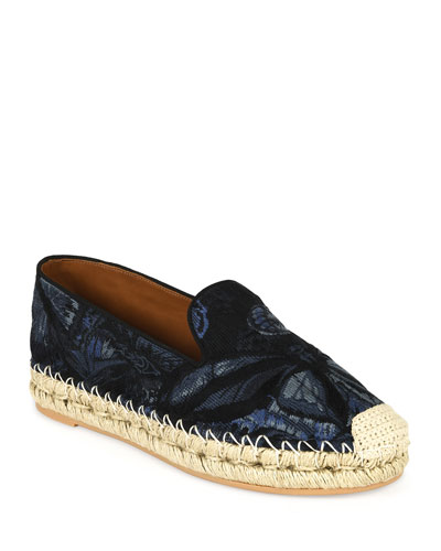 Butterfly-Print Fabric Espadrille, Night Blue/Black