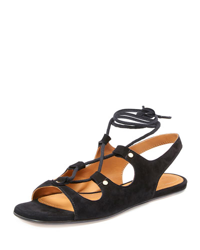Lace-Up Slingback Gladiator Sandals, Black