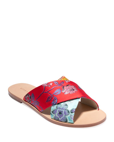 Harrieta Embroidered Flat Slide Sandals