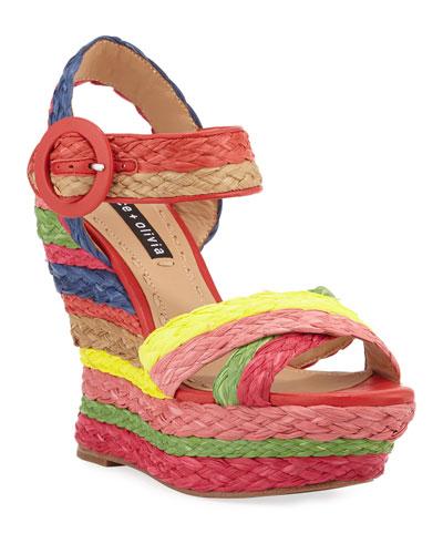 Josiey Rainbow Wedge Sandals