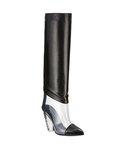 Lisy Leather & PVC Knee Boots