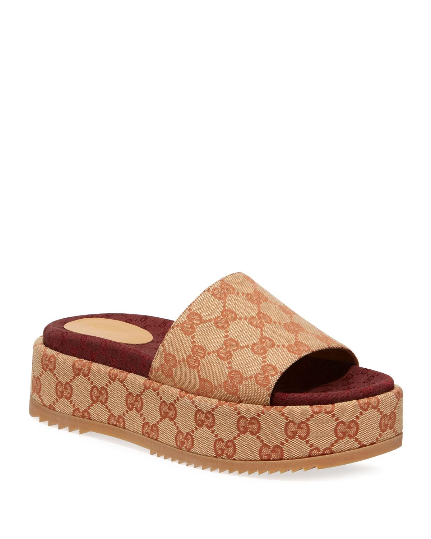 4ed46afa3a3 Gucci Angelina Gg Supreme Platform Slide Sandal In Beige