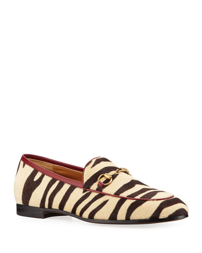 New Jordaan Zebra-Print Calf Hair Loafers