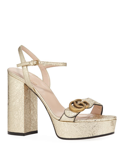 Marmont Metallic Block-Heel Platform Sandals
